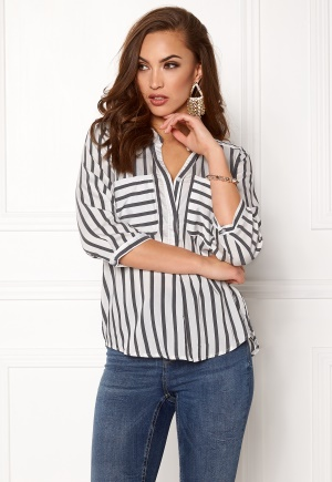 VERO MODA Erika Stripe 3/4 Shirt Snow White Stripes XS