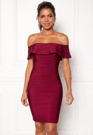 WOW COUTURE Sonnet Bandage Mini Dress Merlot L