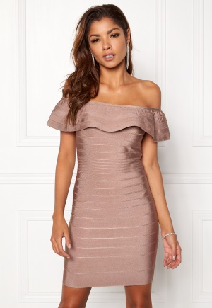 WOW COUTURE Sonnet Bandage Mini Dress Almond L