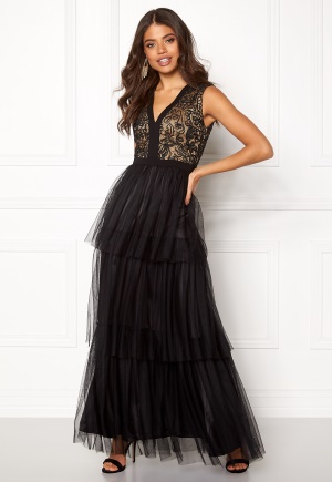 AngelEye Lace Bodice Maxi Dress Black L (UK14)
