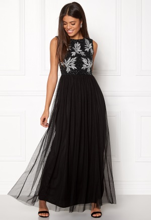 AngelEye Sequin Bodice Maxi Dress Black L (UK14)