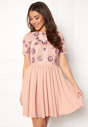 AngelEye Short Sleeve Sequin Dress Pink M (UK12)
