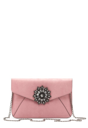 New Look Brooch Envelope Clutch Shell Pink One size