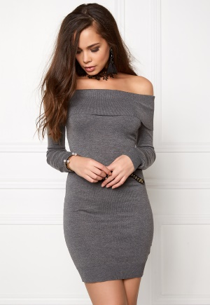 BUBBLEROOM Offshoulder knitted dress Dark grey melange XL