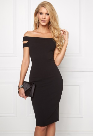 Goddiva Double Bardot Midi Dress Black XS (UK8)