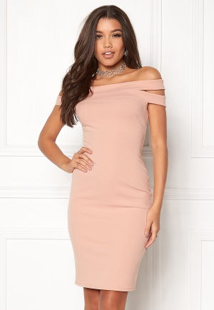 Goddiva Double Bardot Midi Dress Nude XS (UK8)