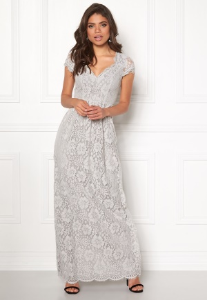 DRY LAKE Summer Date Long Dress Grey Lace S