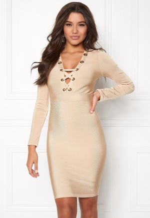 WOW COUTURE Eyelet Lace Bandage Dress Sand L