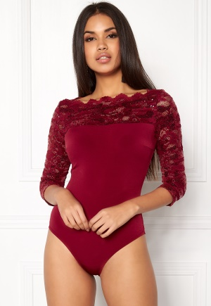 Goddiva 3/4 Lace Sleeve Bodysuit Wine L