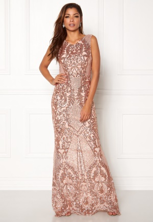 Goddiva Allover Sequin Maxi Dress Champgane XS (UK8)