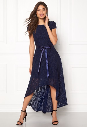 Goddiva Asymmetric Lace Dress Navy L (UK14)
