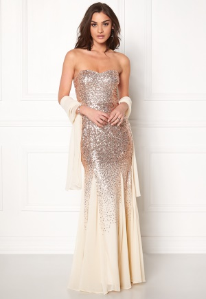 Goddiva Bandeau Sequin Maxi Dress Champagne XS (UK8)