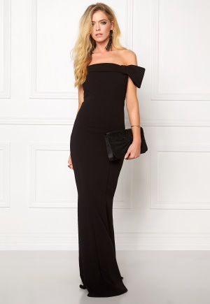 Goddiva Bardot Fishtail Maxi Dress Black L (UK14)