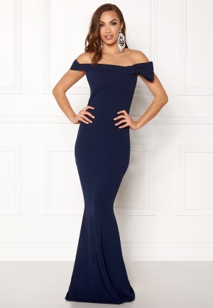 Goddiva Bardot Fishtail Maxi Dress Navy L (UK14)