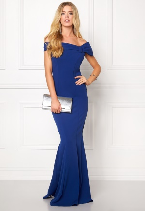 Goddiva Bardot Fishtail Maxi Dress Royal Blue L (UK14)