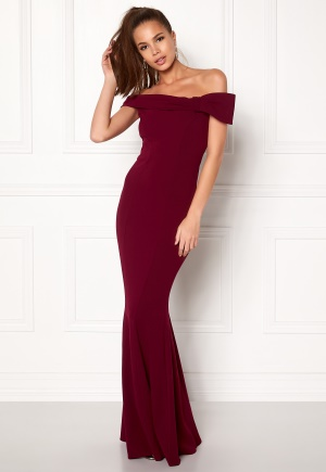 Goddiva Bardot Fishtail Maxi Dress Berry L (UK14)