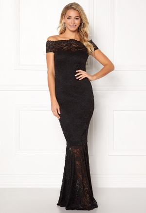 Goddiva Bardot Lace Maxi Dress Black L (UK14)