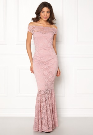 Goddiva Bardot Lace Maxi Dress Mauve L (UK14)
