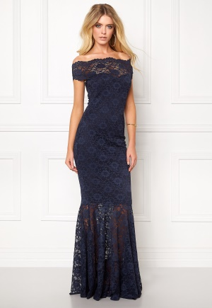 Goddiva Bardot Lace Maxi Dress Navy L (UK14)