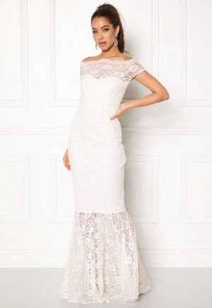 Goddiva Bardot Lace Maxi Dress White L (UK14)