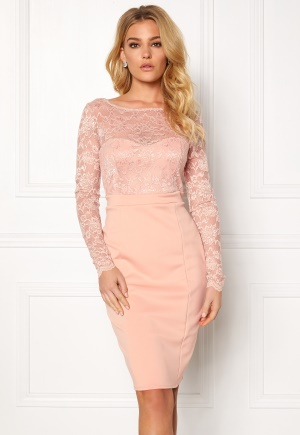 Goddiva Bardot Midi Dress Bow Nude XS (UK8)