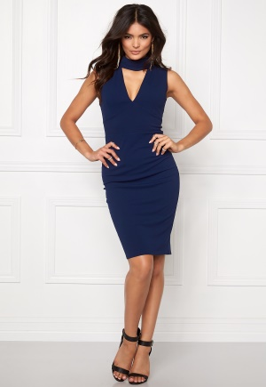Goddiva Cutout High Neck Midi Navy XS (UK8)