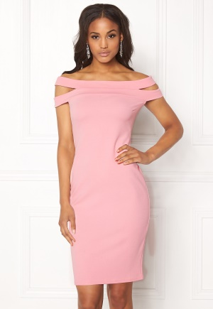 Goddiva Double Bardot Midi Dress Pink XS (UK8)