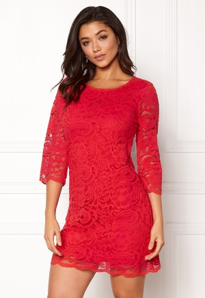 Happy Holly Lina lace dress Red 34