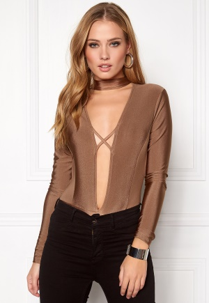 NaaNaa Choker Neck Bodysuit Taupe S (UK10)