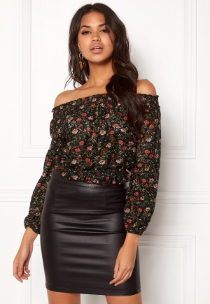 New Look Ballon Printed Lace Top Black Pattern L (UK14)