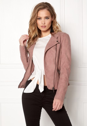 ONLY Ava Faux Leather Biker Ash Rose 34