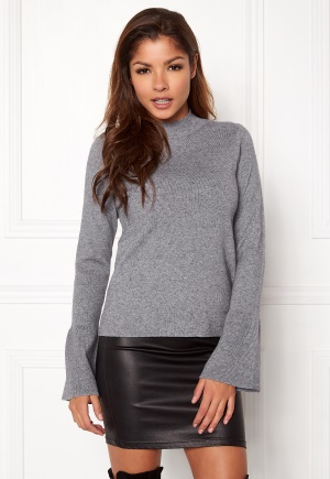 Pieces Illiana LS Turtleneck Knit Light Grey Melange L