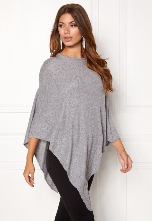 Pieces Rikki Wool Poncho Light Grey Melange One size