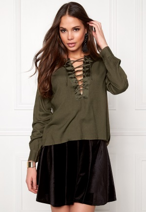 Rut & Circle Elin Lace-Up Blouse Vintage Olive 38