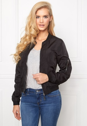 Mixed from Italy Front Zip Bomber Jacket Black XL (UK16)
